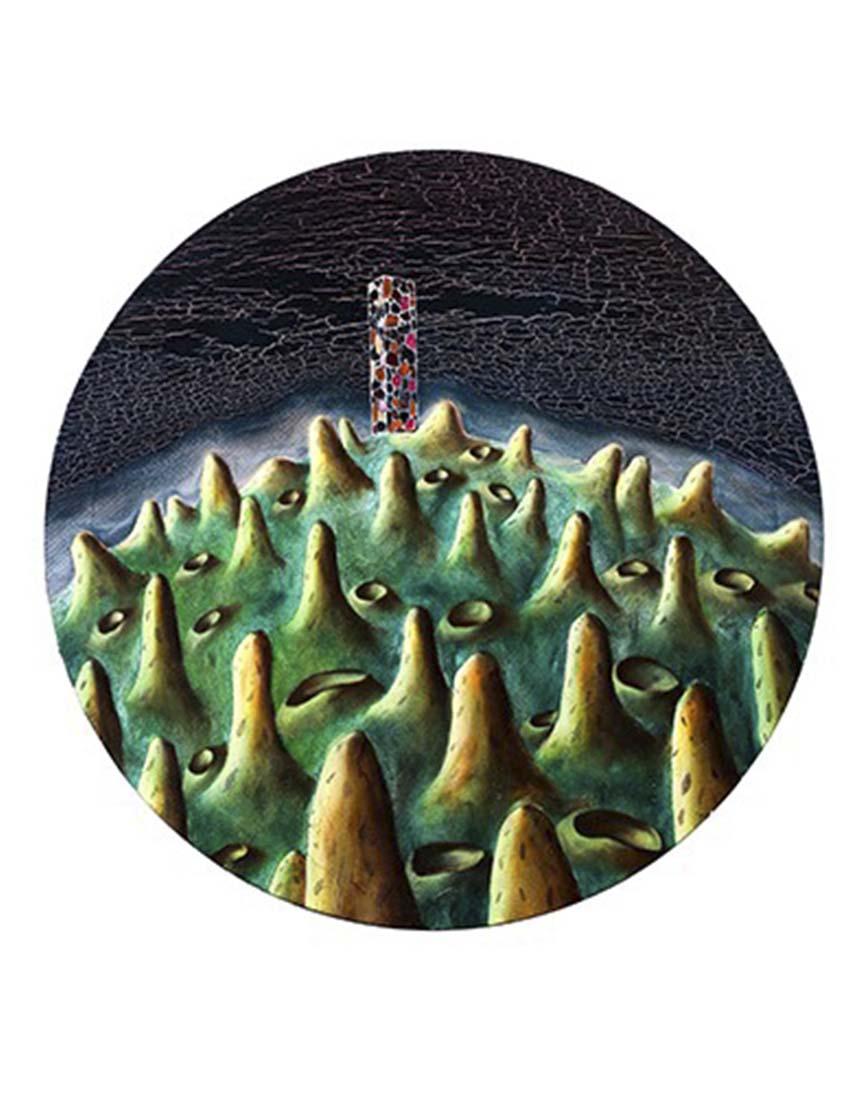 刘宏勋 《五彩石》 布面油画 直径60cm 2012年 拷贝