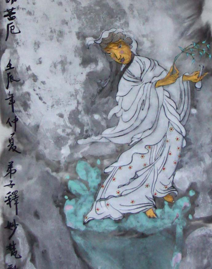 白衣大士圣像,纸本重彩,曾慧34X136CM,2012.JPG