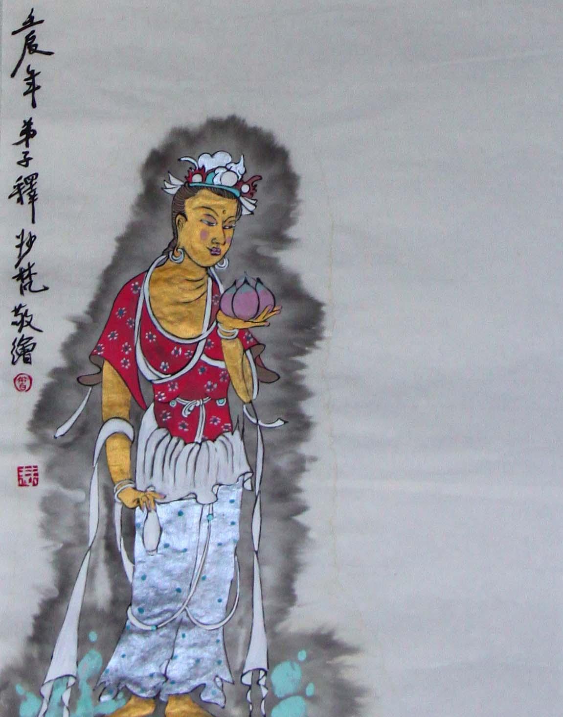 度一切苦厄菩萨圣像,纸本重彩,曾慧34X136CM,2012.JPG
