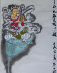 乐板菩萨圣像,纸本重彩,曾慧34X136CM,2012.JPG