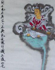 乐琴菩萨圣像,纸本重彩,纸本重彩,曾慧34X136CM,2012.JPG