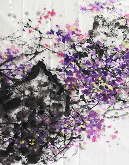 刘一原 《跃动的紫卉》 纸本水墨 69cm×69cm 2008年