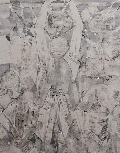 魏建明《记忆心电图之白》皮纸 98cm×98cm   2013年