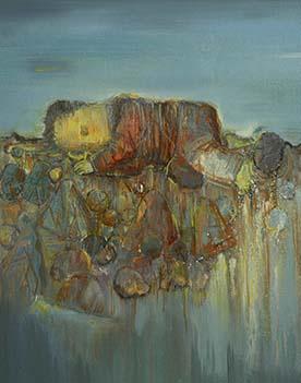 张扬〈旅途中休息的人〉布面油画90× 100CM 2012年5月