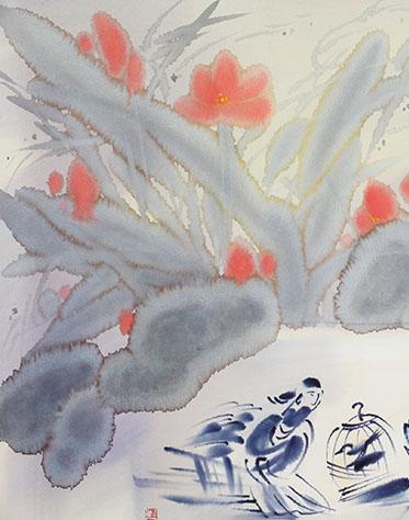 王涌 《荷》 纸本水彩 54cm×37cm 2007年