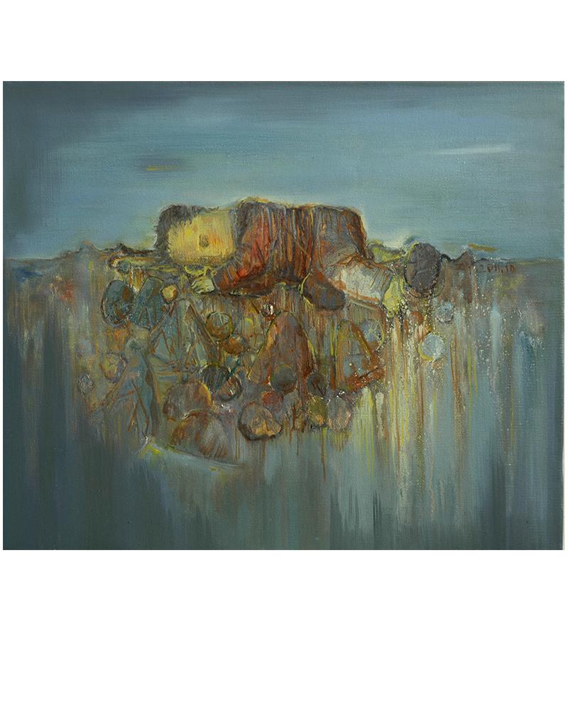 张扬〈旅途中休息的人〉布面油画