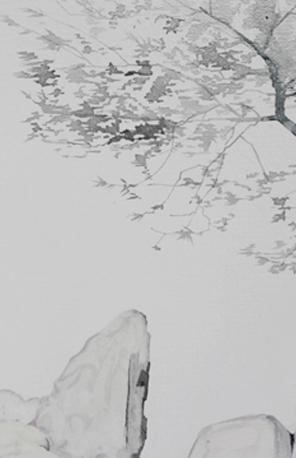 局部图-《翠松山石》50×70cm布面油画2016