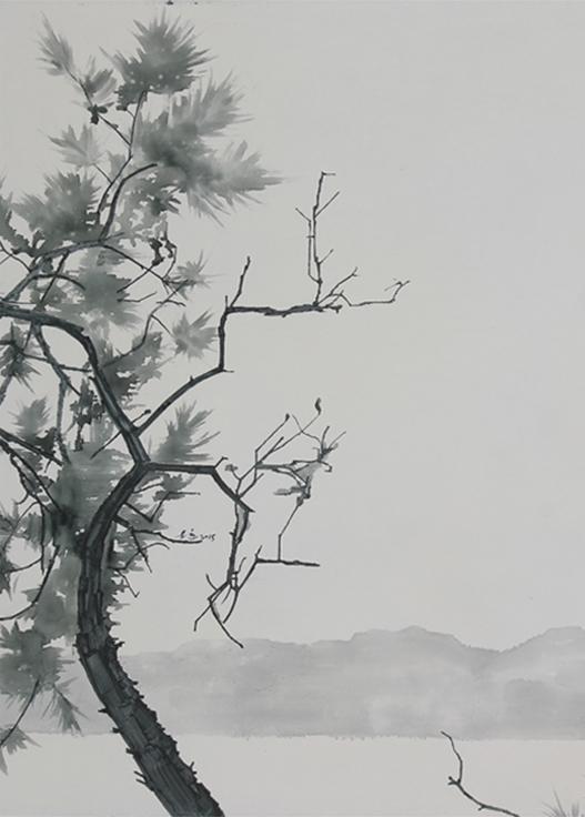 局部图-《翠松远山》50×70cm布面油画2016