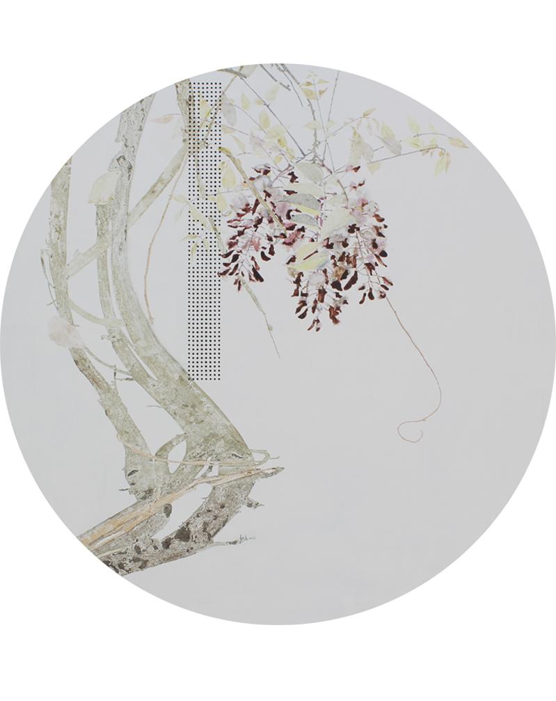 局部-《花期时时No.150215》直径80cm布面油画2015