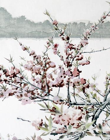局部图1-《三潭印月》50×70cm布面油画2014