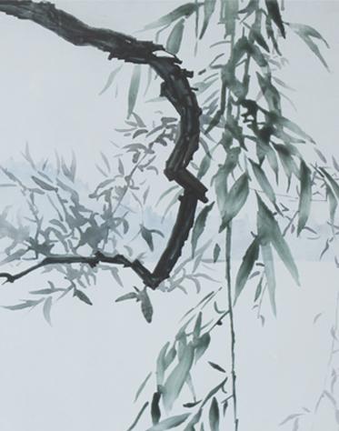 局部图1《西湖泛舟》50×70cm布面油画2013